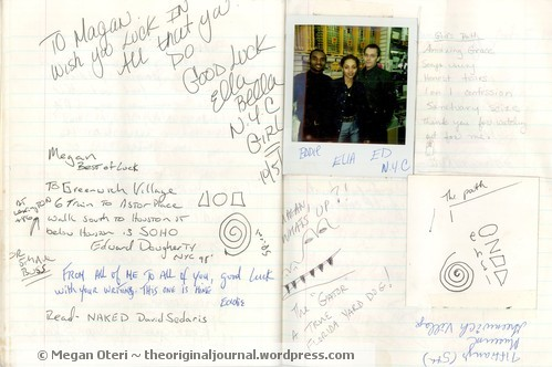 Full Journal Page in NYC Journal. The three people in the photo are from a camera store in NYC I stopped in to get film. I asked for directions to the Village at this store. Ed was the person who wrote down the directions.