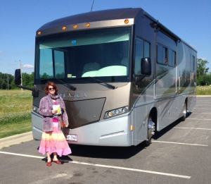 Meg in front of RV
